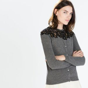 ZARA Wool-Blend Cardigan with Lace Detail